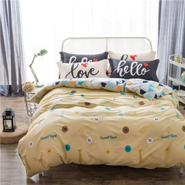 Colorful Buttons Printed Cotton Yellow Kids Duvet Covers/Bedding Sets