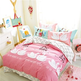 Swans Printed Cotton Pink Kids Duvet Covers/Bedding Sets