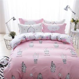 Cactus Printed Cotton Pink Kids Duvet Covers/Bedding Sets