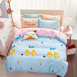 Chickens Printed Cotton Blue Kids Duvet Covers/Bedding Sets