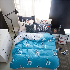 Cartoon Dogs Printed Cotton Blue Kids Duvet Covers/Bedding Sets