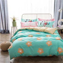 Orange Flowers Printed Cotton Green Kids Duvet Covers/Bedding Sets