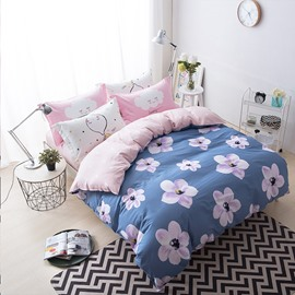 Flowers Printed Cotton Blue Kids Duvet Covers/Bedding Sets