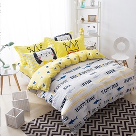 Nordic Style Colorful Letters Printed Cotton White Kids Duvet Covers/Bedding Sets