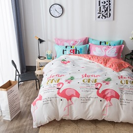 Nordic Style Flamingos Printed Cotton White Kids Duvet Covers/Bedding Sets