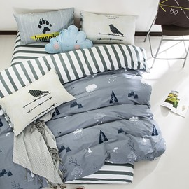 Nordic Style Trees Printed Cotton Gray Kids Duvet Covers/Bedding Sets