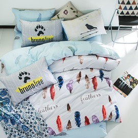 Nordic Style Colorful Feathers Printed Cotton White Kids Duvet Covers/Bedding Sets