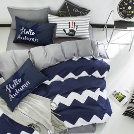 Nordic Style Wave Pattern Cotton Blue and White Kids Duvet Covers/Bedding Sets