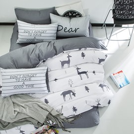 Nordic Style Deer Printed Cotton White Kids Duvet Covers/Bedding Sets