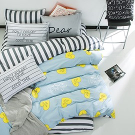 Nordic Style Heart Shape Printed Cotton Blue Kids Duvet Covers/Bedding Sets