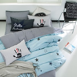Nordic Style Stars Printed Cotton Blue Kids Duvet Covers/Bedding Sets