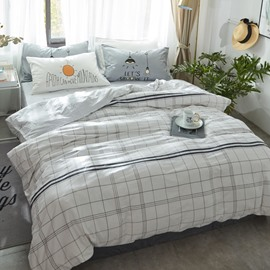 Nordic Style Grid Cotton White Kids Duvet Covers/Bedding Sets