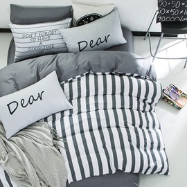 Nordic Style Stripes Printed Cotton Gray Kids Duvet Covers/Bedding Sets