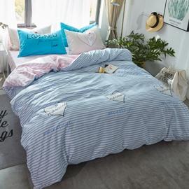 Nordic Style Stripes Printed Cotton Light Blue Kids Duvet Covers/Bedding Sets
