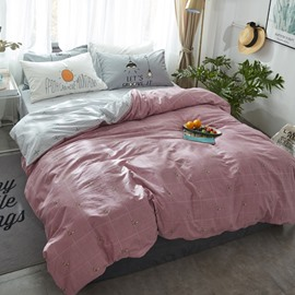 Nordic Style Grid Printed Cotton Pink Kids Duvet Covers/Bedding Sets