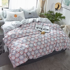 Stars Printed Cotton Nordic Style White Kids Duvet Covers/Bedding Sets