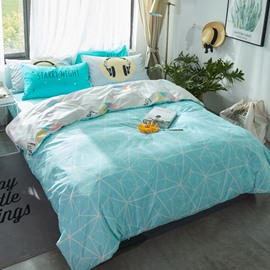 Nets Printed Cotton Light Blue Kids Duvet Covers/Bedding Sets