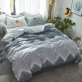 Waves Printed Cotton Simple Style Gray Kids Duvet Covers/Bedding Sets