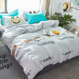 Letters Printed Cotton Simple Style Gray Kids Duvet Covers/Bedding Sets