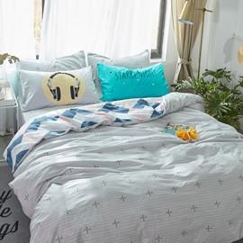 Crosses Printed Cotton Gray Kids Duvet Covers/Bedding Sets