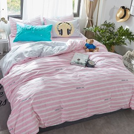 Stripes Printed Cotton Pink and White Kids Duvet Covers/Bedding Sets