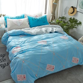 Letter and Grid Printed Cotton Blue Kids Duvet Covers/Bedding Sets