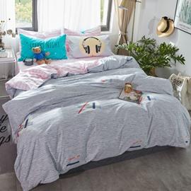 Simple Style Cotton Blue Kids Duvet Covers/Bedding Sets