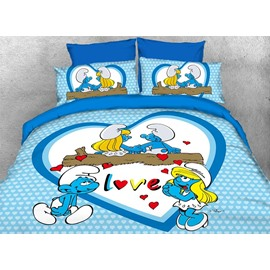 Smurfette in Love with Smurf Romantic 4-Piece Bedding Sets/Duvet Covers
