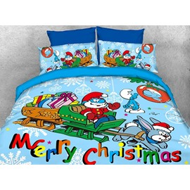 Papa Smurf Merry Christmas Holiday 4-Piece Bedding Sets/Duvet Covers