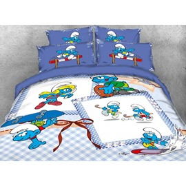 Sporty Smurfs and Smurfette Twin 3-Piece Kids Bedding Sets/Duvet Covers