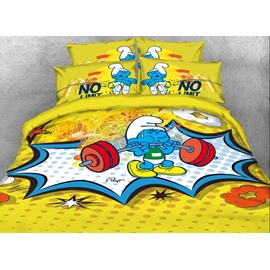 Smurf Weightlifter Bright Yellow Twin 3-Piece Kids Bedding Sets/Duvet Covers