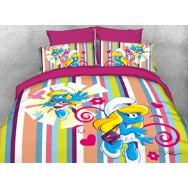 Dreamy Smurfette Singer and Colorful Stripes Twin 3-Piece Kids Bedding Sets