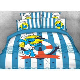 Smurfette with Anchor Striped Nautical Style Twin 3-Piece Kids Bedding Sets