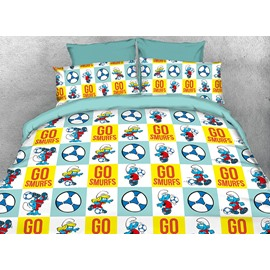 Football Smurfs and Smurfette Twin 3-Piece Kids Bedding Sets