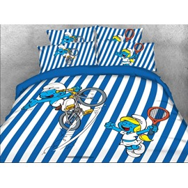 Cyclist Smurf Blue and White Striped Twin 3-Piece Kids Bedding Sets