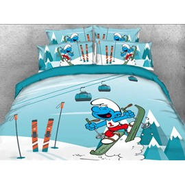 Laughing Smurf Skiing Blue Twin 3-Piece Kids Bedding Sets/Duvet Covers