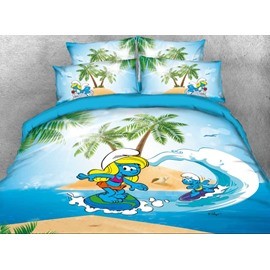 Surfing Smurf and Smurfette Coastal Style Twin 3-Piece Kids Bedding Sets