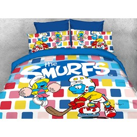 Hockey Smurf and Dancing Smurfette Twin 3-Piece Kids Bedding Sets/Duvet Covers