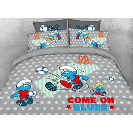 Soccer Smurfs and Polka Dot Twin 3-Piece Kids Bedding Sets/Duvet Covers
