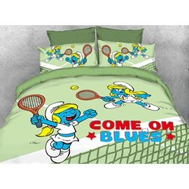 Tennis Smurfette Light Green Twin 3-Piece Kids Bedding Sets/Duvet Covers