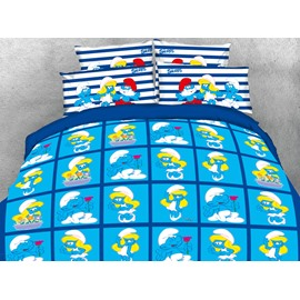Sweet Smurf and Smurfette in Love Printed Twin 3-Piece Kids Blue Bedding Sets