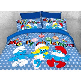 Merry Christmas with the Smurfs Twin 3-Piece Kids Blue Bedding Sets