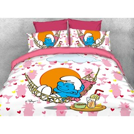 Lazy Smurf in Hammock Printed Twin 3-Piece Kids Bedding Sets/Duvet Covers