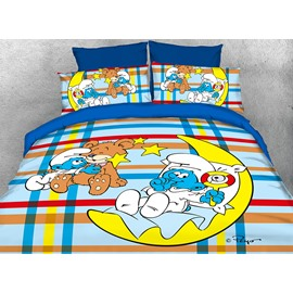 Baby Smurf with Moon Plaid Printed Twin 3-Piece Kids Bedding Sets