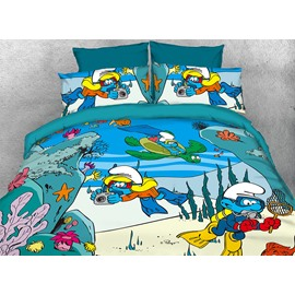 The Smurfs Exploring the Underwater World Twin 3-Piece Kids Bedding Sets