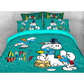 The Smurfs Building Snowman Printed Twin 3-Piece Kids Bedding Sets