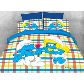 Courting Smurf Smurfette Valentine Printed Twin 3-Piece Kids Bedding Sets