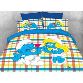 Courting Smurf Smurfette Valentine Printed Twin 3-Piece Kids Bedding Sets