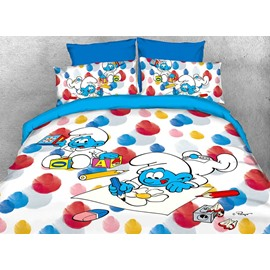 Baby Smurf Painting Flower and Building Blocks Twin 3-Piece Kids Bedding Sets