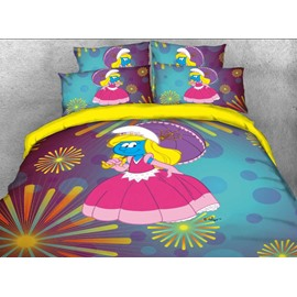 Princess Smurfette with Pink Dress Fireworks Printed Twin 3-Piece Kids Bedding Sets
